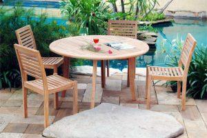Bar Height Glass Table, Outdoor Dining Set Jepara Teak Wood Furniture Teak Wood Furniture