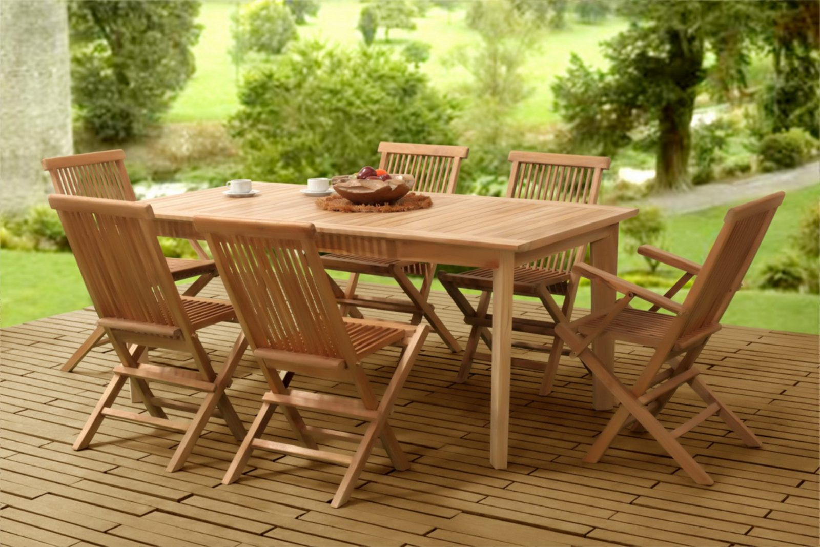 Wooden Classic Folding Dining Set Indonesia Teak Wood Furniture Jepara Wood Furniture
